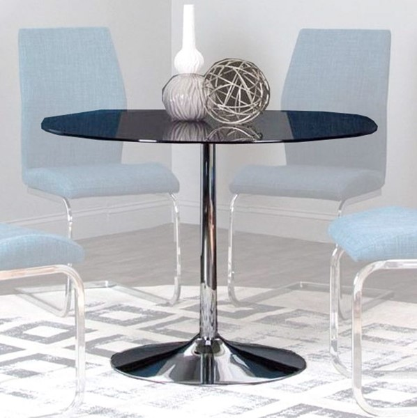 Cramco Rocket Smoke Glass Chrome Round Dining Table CRM-ND612-41-45-47