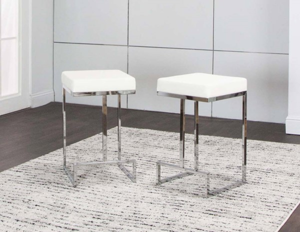2 Cramco Tomasso White Polyurethane Chrome Backless 24 Inch Counterstools CRM-ND726-25
