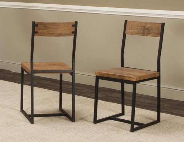 6 Cramco Adler Oak Wood Black Metal Side Chairs CRM-P2002-01
