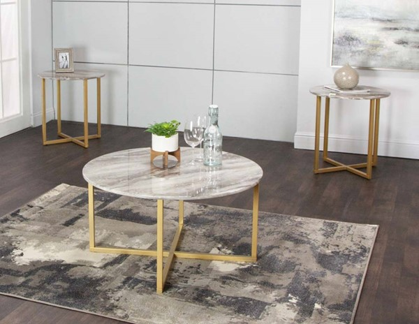 Cramco Hanna Coffee Faux Marble Gold Steel 3pc Occasional Table Set CRM-T2219-90