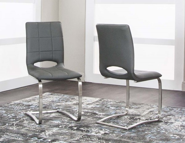 2 Cramco Stella Charcoal Polyurethane Stainless Steel Side Chairs CRM-TF642-09