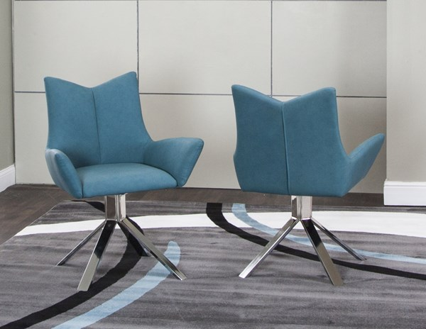 Veloce Turquoise PU Chrome Tubular Steel Welded Swivel Arm Chair : turquoise arm chair - Cheerinfomania.Com