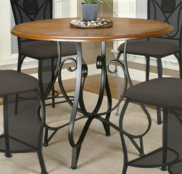 Cramco Ravine Rustic Oak Wood Veneer Espresso Metal Round Counter Height Table CRM-W2597-61-64