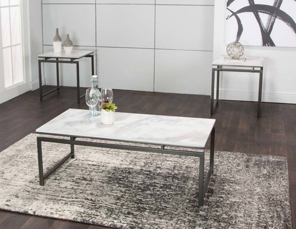 Cramco Elsa White Faux Marble Gray Steel 3pc Occasional Table Set CRM-Y2128-90