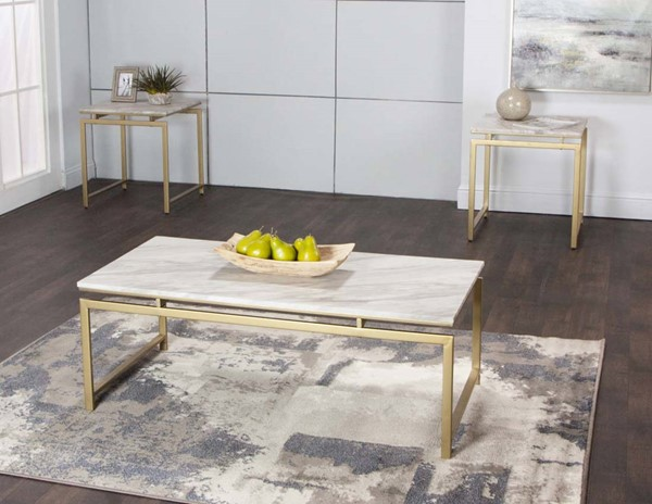 Cramco Goldie White Faux Marble Gold Steel 3pc Occasional Table Set CRM-Y2187-90