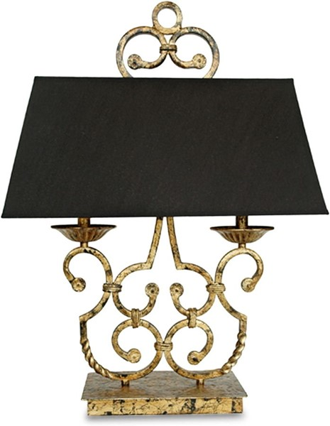 Crestview Collection Charleston Black Gold Twin Light Table Lamp CRST-CVACR164