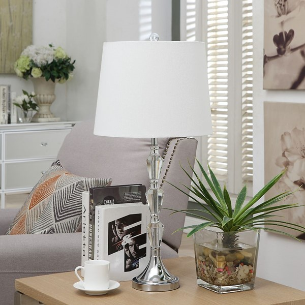 Crestview Collection Chrome Crystal Table Lamp CRST-ABS1424BNSNG