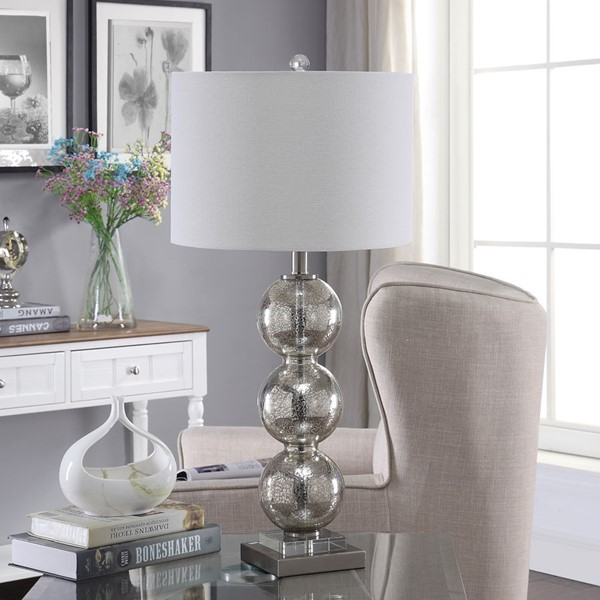 Crestview Collection White Shade Table Lamp CRST-ABS1519MESNG