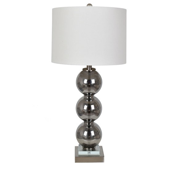 Crestview Collection White Round Shade Table Lamp CRST-ABS1519SMSNG