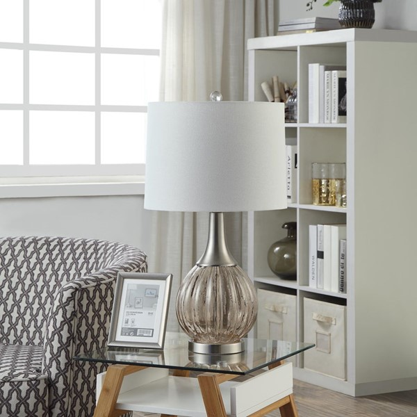 Crestview Collection Glass Drum Shade Table Lamp CRST-ABS1559SNG