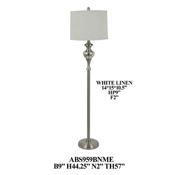 Crestview Collection Mercury Shade Drum Floor Lamp CRST-ABS959BNME