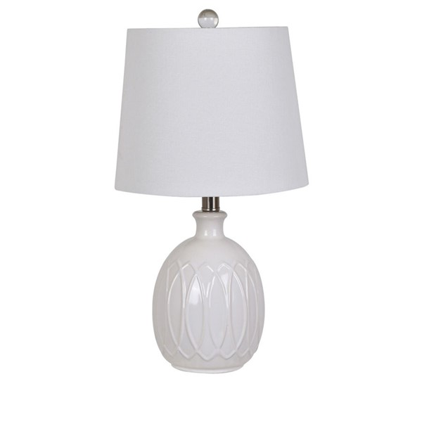 Crestview Collection White Ceramic Table Lamp CRST-AP2088SNG