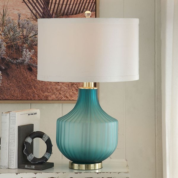 Crestview Collection Isabella Frosted Turquoise White Table Lamp CRST-CVABS1447
