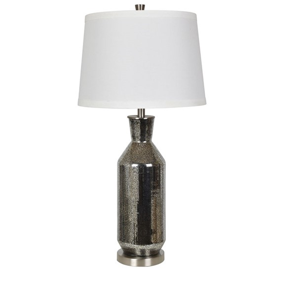 2 Crestview Collection Jaden Black Mercury White Table Lamps CRST-CVABS1632B