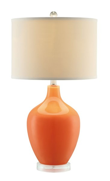 Crestview Collection Avery Orange White Fabric Table Lamp CRST-CVABS811D