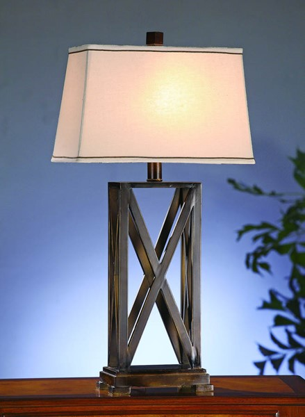 Crestview Collection Everson Natural Bronze Criss Cross Table Lamp CRST-CVACR603