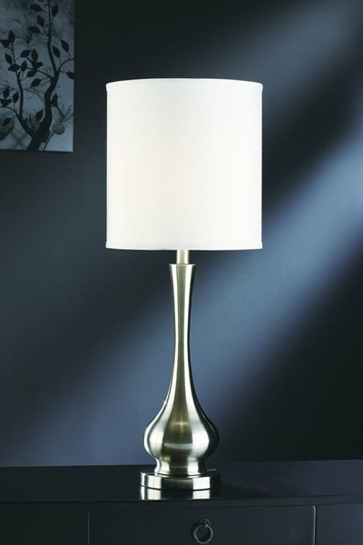 2 Crestview Collection Camden Brushed White Table Lamps CRST-CVACR870