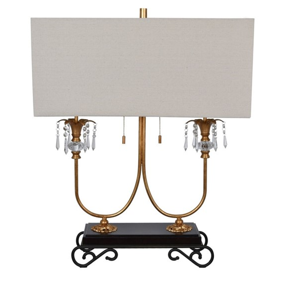Crestview Collection Adriana Gold Leaf Fabric Table Lamp CRST-CVAER1000