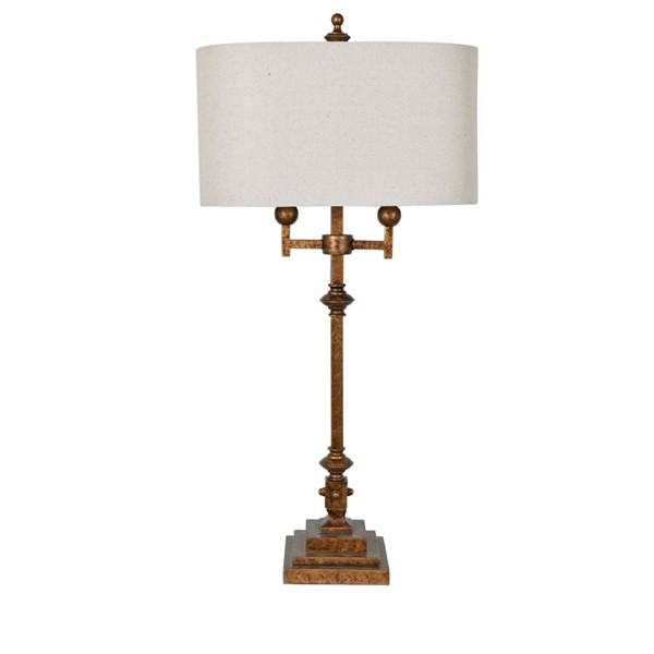 2 Crestview Collection Harper Antique Gold Oatmeal Table Lamps CRST-CVAER1136