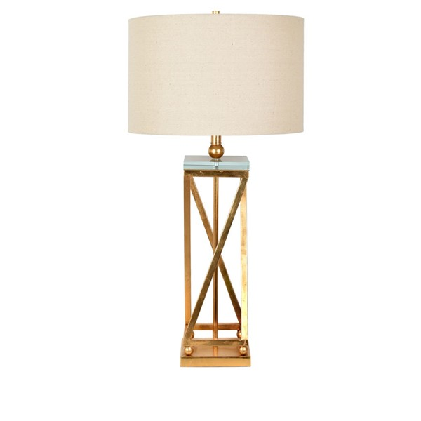 2 Crestview Collection Aria Gold Leaf Oatmeal Table Lamps CRST-CVAER1149