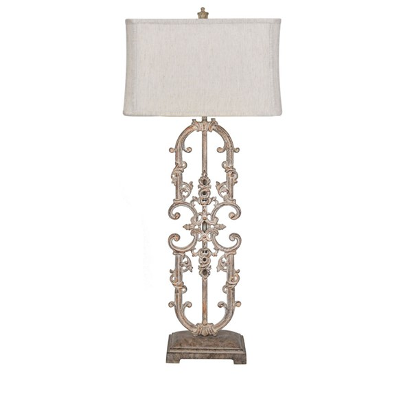 Crestview Collection Madison Antique White Natural Table Lamp CRST-CVAER1194