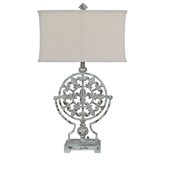 2 Crestview Collection Olives Blue Oatmeal Table Lamps CRST-CVAER1204