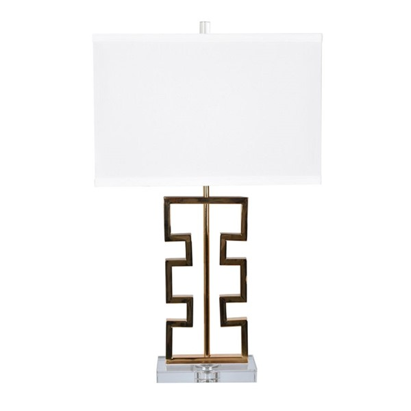 Crestview Collection Azteca Gold White Fabric Table Lamp CRST-CVAER315G