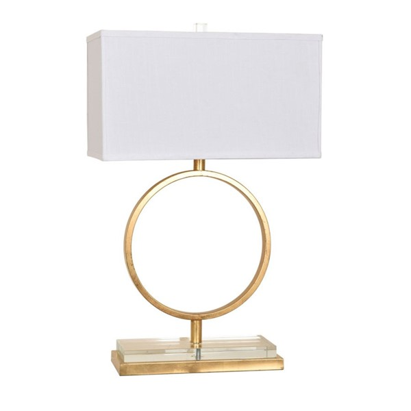 Crestview Collection Aldrich Gold Leaf White Table Lamp CRST-CVAER872