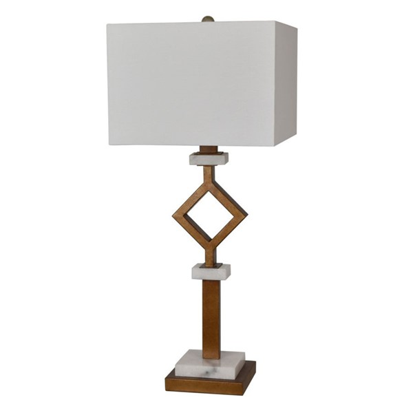 Crestview Collection Marseilles White Gold Leaf White Table Lamp CRST-CVAER925