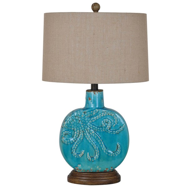 Crestview Collection Deep Antique Turquoise Burlap Table Lamp CRST-CVAP1725
