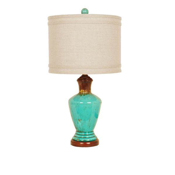 Crestview Collection Napa Burlap Turquoise Table Lamp CRST-CVAP1768B
