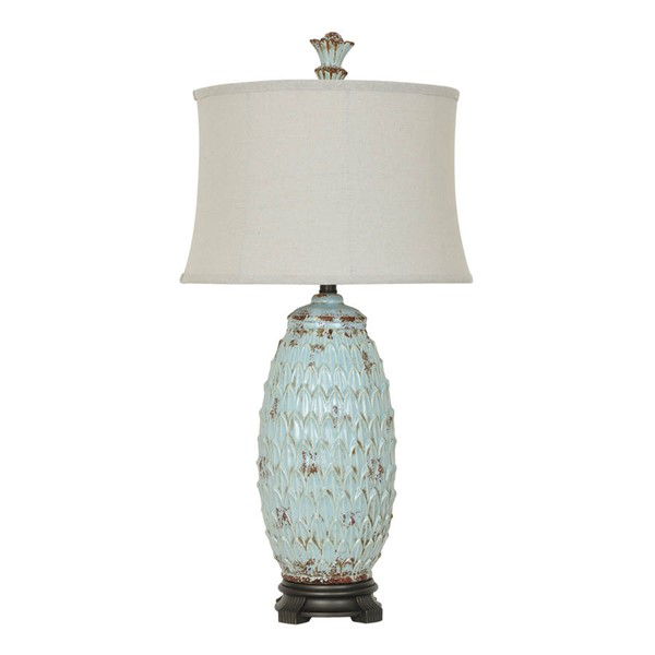 2 Crestview Collection Colony Antique Blue Natural Table Lamps CRST-CVAP1905