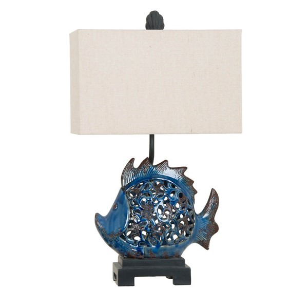 2 Crestview Collection Scales Dark Turquoise Blue Black Table Lamps CRST-CVAP1972
