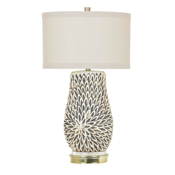Crestview Collection Sierra White Pearl Cream Table Lamp CRST-CVAP1989