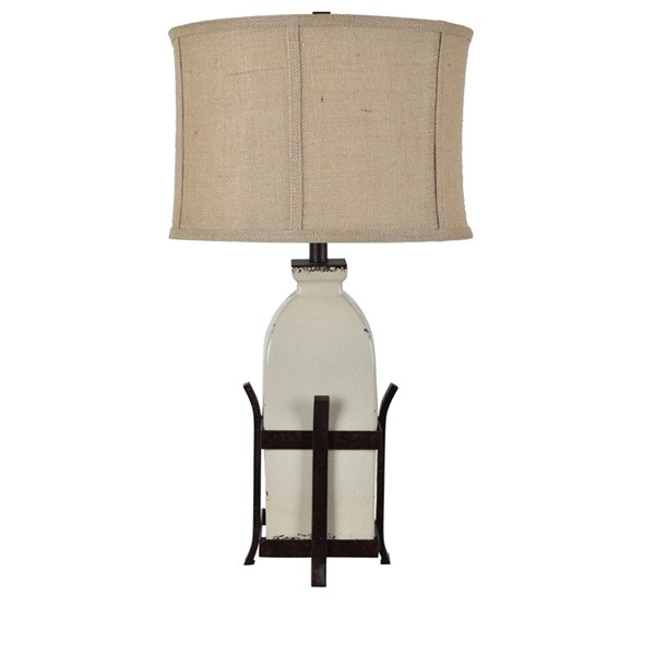 Crestview Collection Pioneer Antique White Table Lamp CRST-CVAP2330