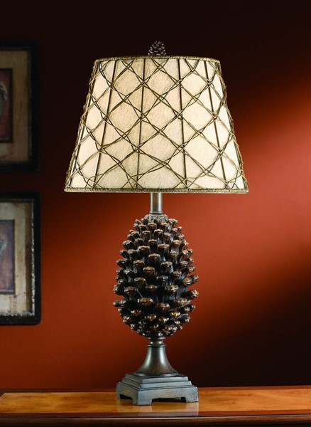 Crestview Collection Natural Oatmeal Pinecone Table Lamp CRST-CVASP083