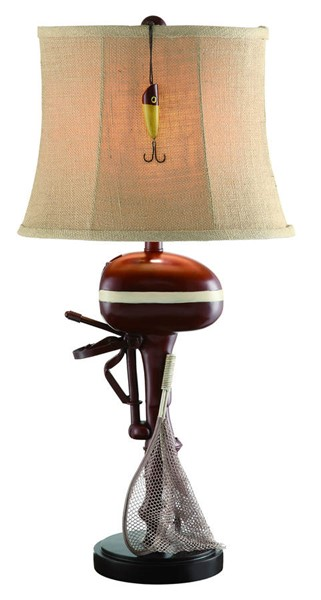 Crestview Collection Motor Boating Red Antique White Table Lamp CRST-CVATP159