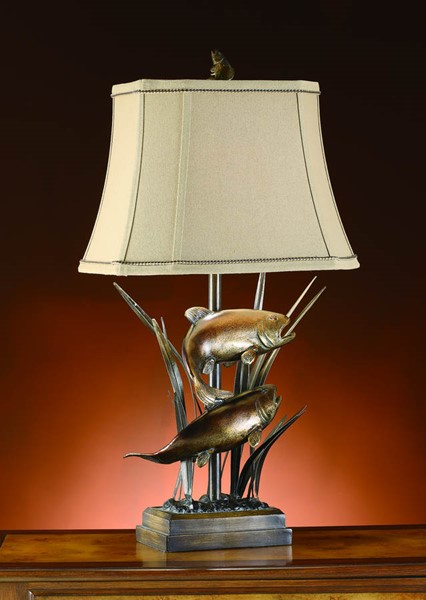 Crestview Collection Upstream Beige Bronze Trout Table Lamp CRST-CVATP586