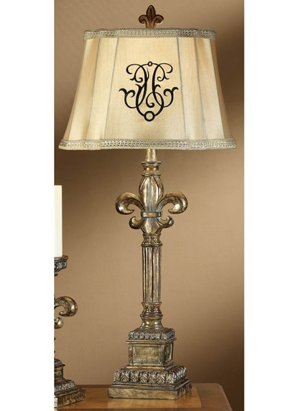 Crestview Collection Florence Beige Silver Fleur Di Lis Table Lamp CRST-CVATP684