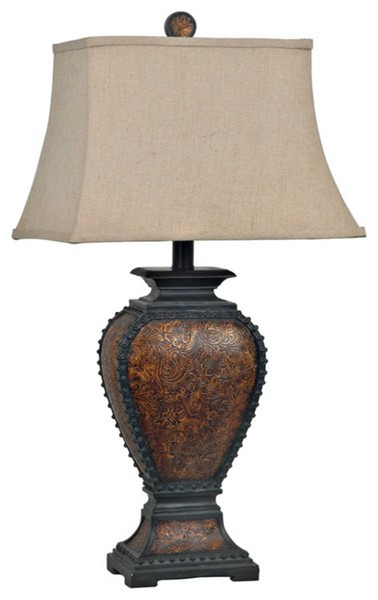 2 Crestview Collection Tooled Tan Resin Table Lamps CRST-CVAUP522