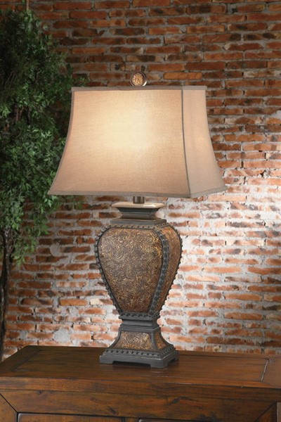 Crestview Collection Tan Tooled Table Lamp CRST-CVAUP522