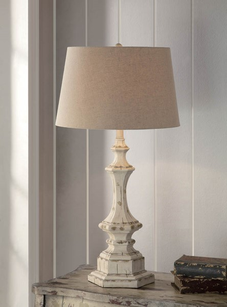 Crestview Collection White Natural Wooden Column Table Lamp CRST-CVAUP739