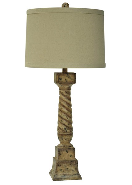 Crestview Collection Natural Antique French Post Table Lamp CRST-CVAUP963