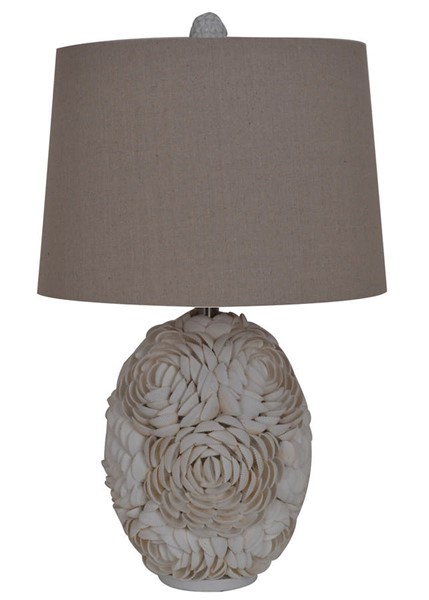 Crestview Collection Natural White Calypso Shell Table Lamp CRST-CVAUP991