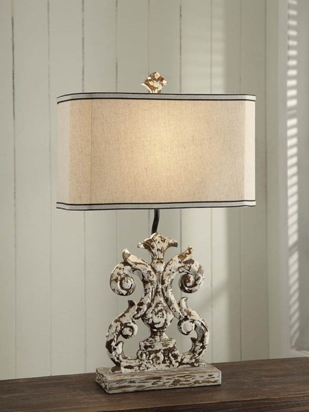 Crestview Collection Lewiston Antique White Table Lamp CRST-CVAVP007
