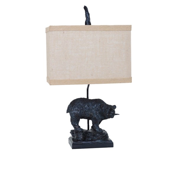 2 Crestview Collection Fishing Bronze Burlap Bear Table Lamps CRST-CVAVP133