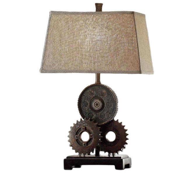 2 Crestview Collection Gears Antique Natural Table Lamps CRST-CVAVP188