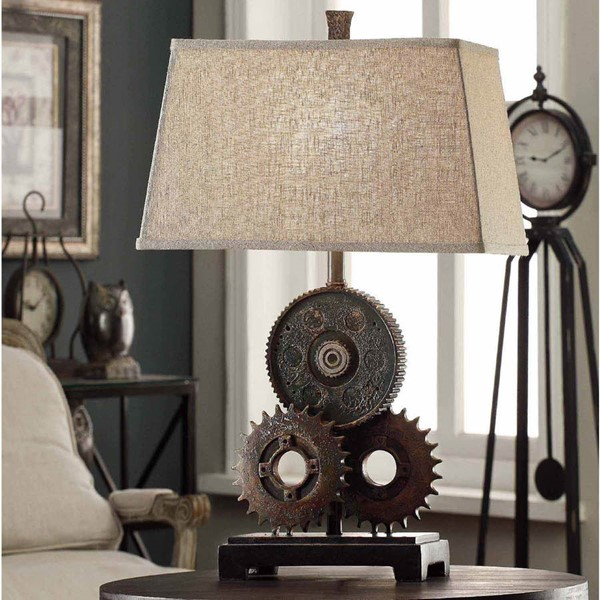 Crestview Collection Natural Antique Gears Table Lamp CRST-CVAVP188