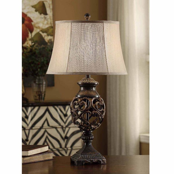 Crestview Collection Taupe Bronze Scrolled Table Lamp CRST-CVAVP235