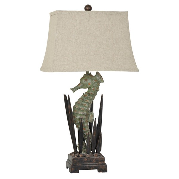 Crestview Collection Antique Green Seahorse Table Lamp CRST-CVAVP322